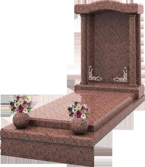 S pulture avec vase st le grav e granit rose de la for Tarif chambre funeraire